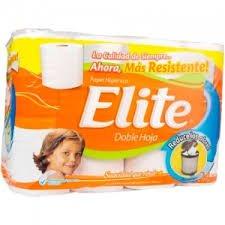 Papel Higienico Elite blanco doble hoja etiqueta naranja 20 rollos