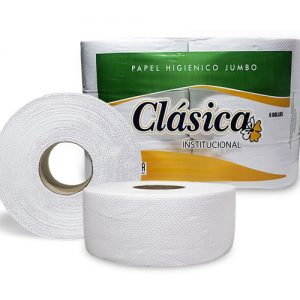 Papel Higienico Jumbo Clasica doble hoja blanco gofrado 200 mts x 6 rollos