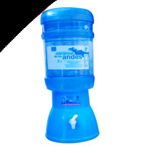 Surtidor celeste + Envase + Bidón de agua Manantial de los Andes 20 litros