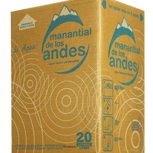 Caja de Agua  Mineral Manantial de los Andes 20 litros descartable
