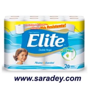 Papel Higienico Elite blanco doble hoja con aloe vera  20 rollos etiqueta celeste