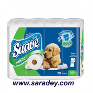 Papel Higienico Suave Scott Jumbo blanco doble hoja x 20 rollos