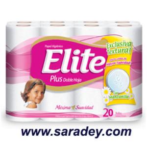 Papel Higienico Elite blanco doble hoja con manzanilla  20 rollos etiqueta rosada